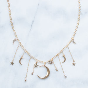 'Luna' moon and stars golden necklace
