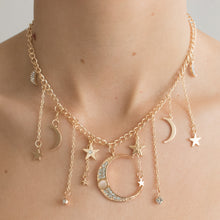 Load image into Gallery viewer, 'Luna' moon and stars golden necklace