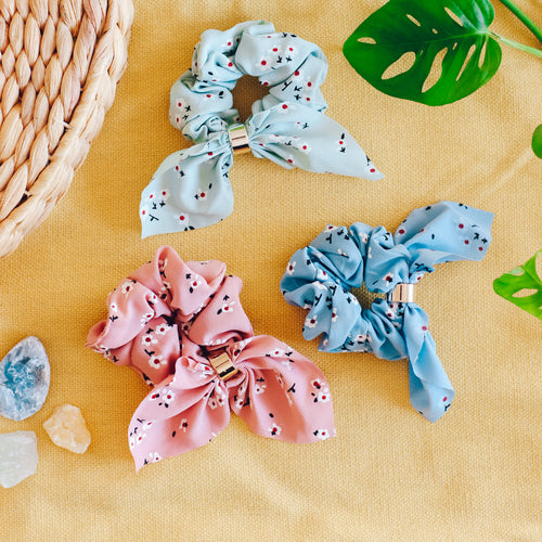 Emma floral bow scrunchies - 3 colors available