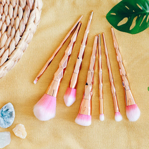 7 piece rose gold brush set