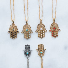 Load image into Gallery viewer, Hamsa single stone hand necklace - 2 colors