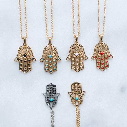 Hamsa single stone hand necklace - 2 colors