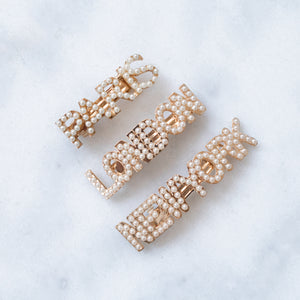 Zoë city pearl gold hair clips