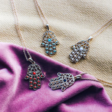 Load image into Gallery viewer, Hamsa multiple stone hand necklace - 4 colors