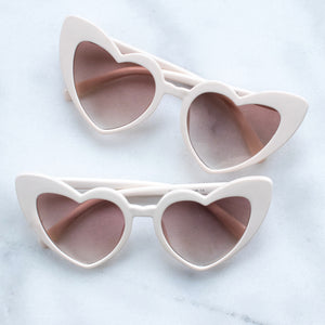 'Hey Lolita' cream heart shaped sunglasses