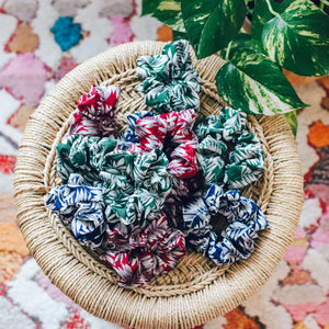 Ivy green printed scrunchie