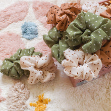 Load image into Gallery viewer, 'Lily' dotted scrunchies - 5 colors available
