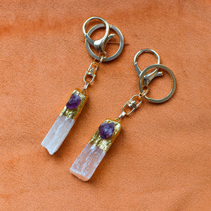 Peach druzy selenite crystal keychain with amethyst and gold details