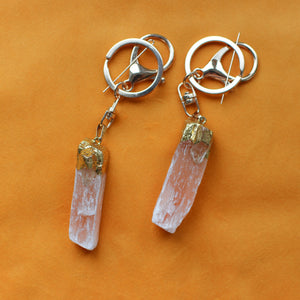 Peach druzy selenite crystal keychain with quartz and gold details