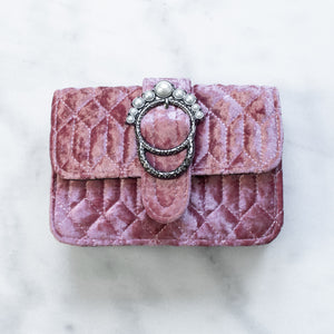 'Juno' pearl embellished light pink velvet bag
