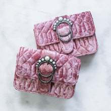 Load image into Gallery viewer, 'Juno' pearl embellished light pink velvet bag