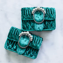 Load image into Gallery viewer, 'Freya' pearl embellished green velvet bag