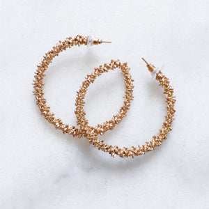 'Rebel' patterned gold hoop earrings