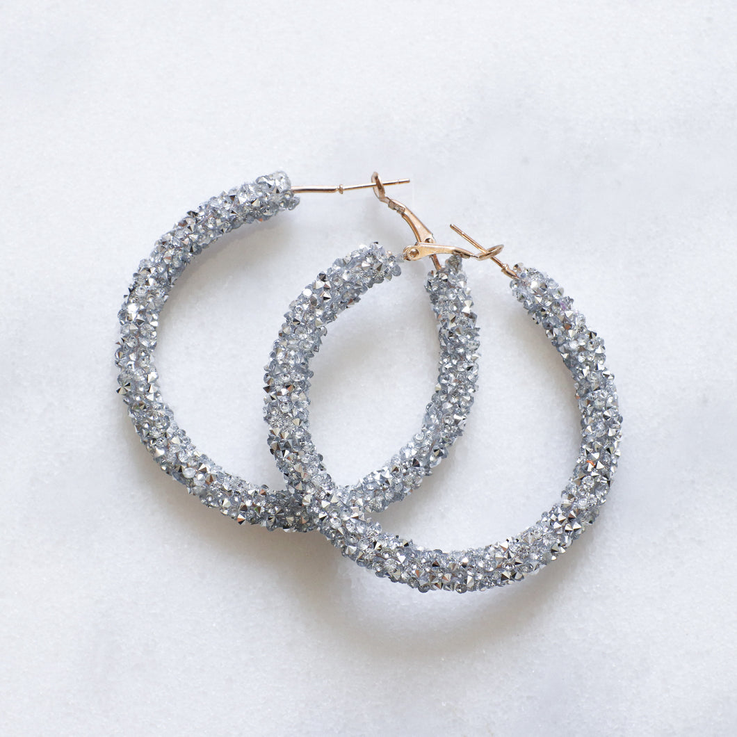 'Kiki' silver crystal hoop earrings