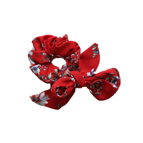'Autumn' red floral ribbon bow scrunchie