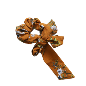'Autumn' mustard floral ribbon bow scrunchie