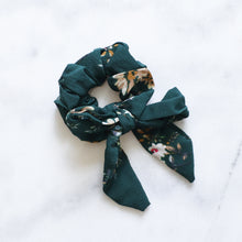 Load image into Gallery viewer, 'Autumn' green floral ribbon bow scrunchie