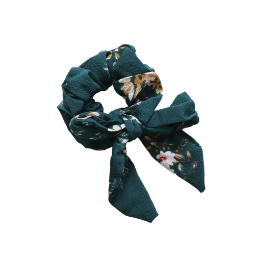 'Autumn' green floral ribbon bow scrunchie