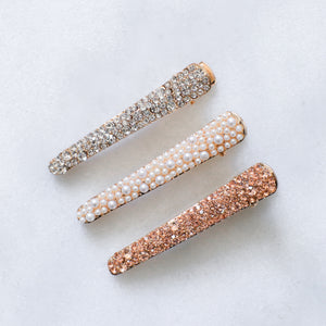 'Blair' sparkly hair clips - set of three