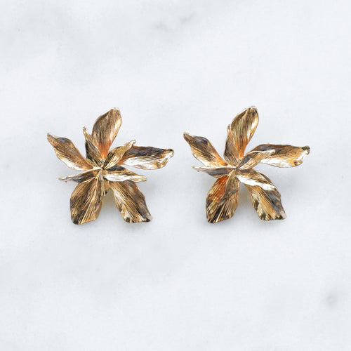'Eve' golden flower earrings