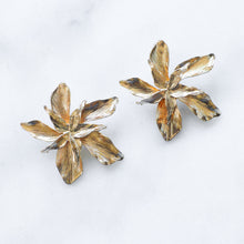 Load image into Gallery viewer, 'Eve' golden flower earrings