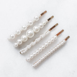 'Bella' pearl hair clip pack - set of 5