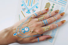Load image into Gallery viewer, Festival favorite gold, silver and blue small flash tattoos - 2 sheets