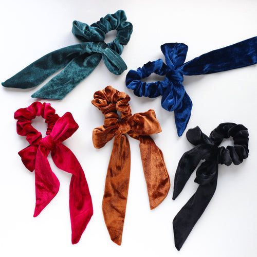 'Sally' velvet bow scrunchies - 5 colors available