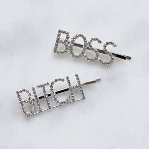 Boss Bitch sparkly hair clips - set of two
