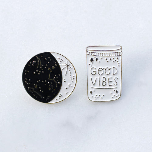 Good Vibes enamel pins - set of two