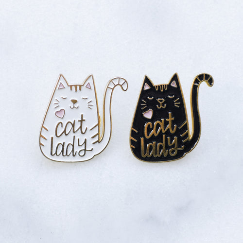 Cat Lady black & white enamel pins