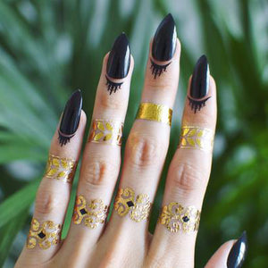 Black cuticle flash tattoos - 4 styles available