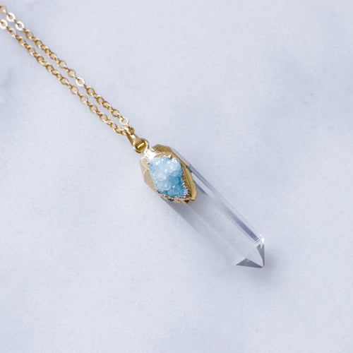 'Zooey' crystal necklace with mint druzy detail