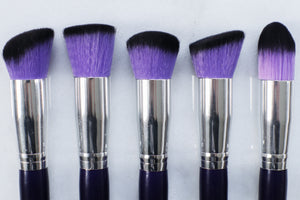 10 piece purple synthetic brush set