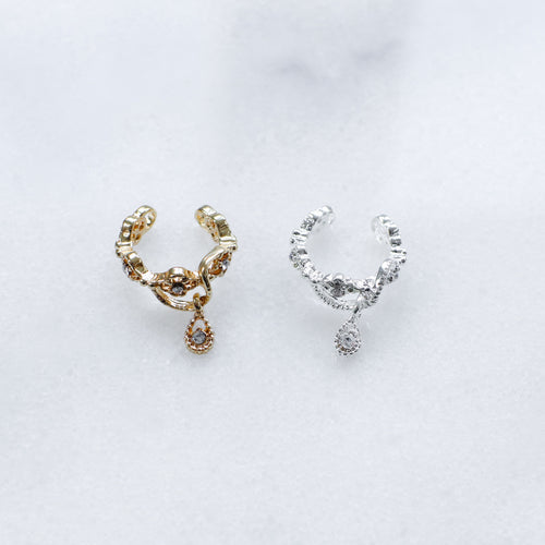 'Valentina' ear cuff with hanging teardrop crystal