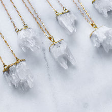 Load image into Gallery viewer, 'Aurora' natural clear quartz cluster necklace