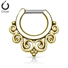 Load image into Gallery viewer, 'Thalia' gold clicker septum piercing
