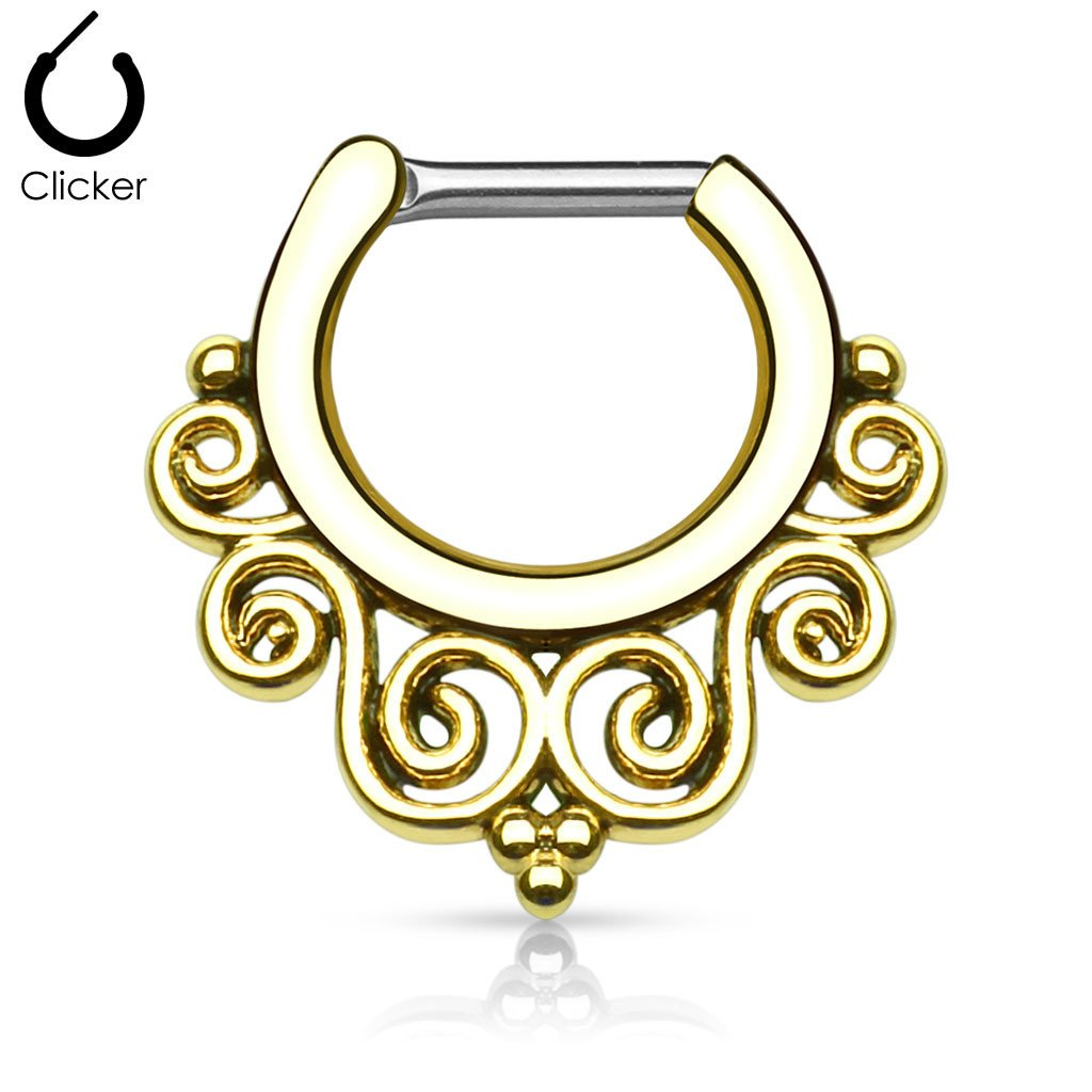 'Thalia' gold clicker septum piercing