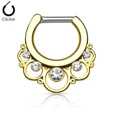 Load image into Gallery viewer, 'Minerva' gold clicker septum piercing with clear stones