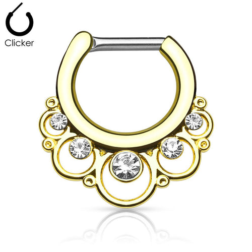 'Minerva' gold clicker septum piercing with clear stones