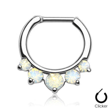 Load image into Gallery viewer, Luna silver clicker septum piercing with opalite stones