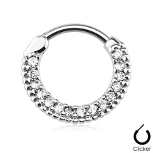 Load image into Gallery viewer, Hella silver round clicker septum piercing with clear stones