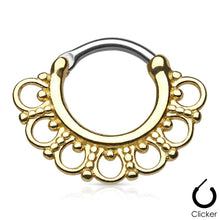 Load image into Gallery viewer, Selene gold clicker septum piercing