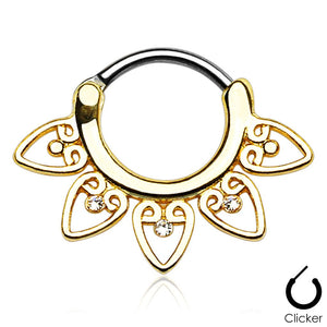 Gaia gold clicker septum piercing