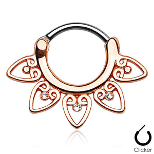 Gaia rose gold clicker septum piercing