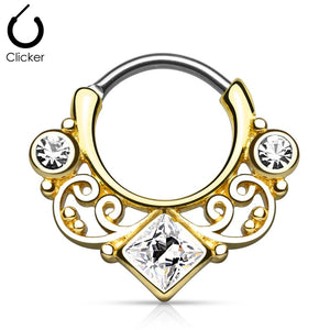 'Kali' gold clicker septum piercing with clear stones