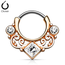 Load image into Gallery viewer, 'Kali' rose gold clicker septum piercing with clear stones