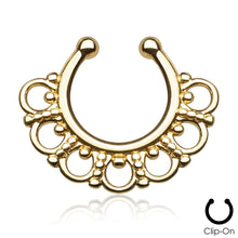 Load image into Gallery viewer, Selene gold clip-on septum piercing
