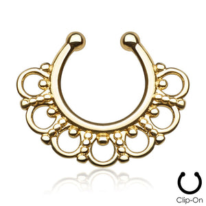 Selene gold clip-on septum piercing