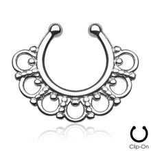 Load image into Gallery viewer, Selene silver clip-on septum piercing